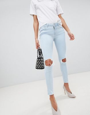 ASOS WHITBY Low Rise Skinny Jeans In Philomena Light Ice Stone Wash with Busted Knees