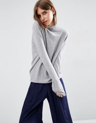 Image 1 of ASOS WHITE 100% Cashmere Relaxed Funnel Neck Jumper