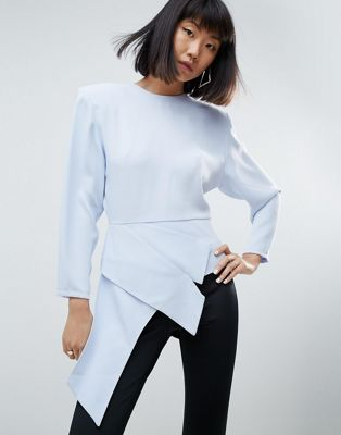ASOS WHITE Asymmetric Top With Shoulder Pads