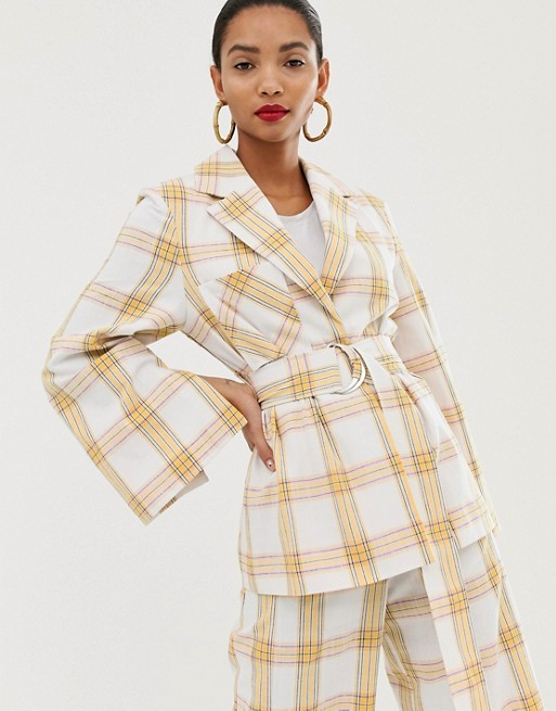 Image 1 of ASOS WHITE belted suit jacket in check print