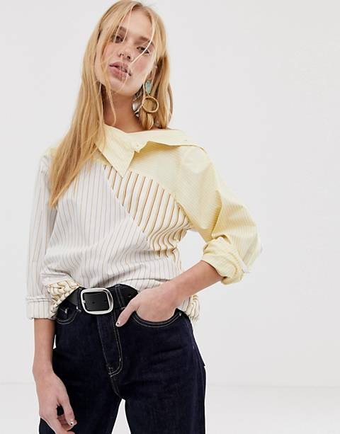 ASOS WHITE - Camicia lunga a righe miste