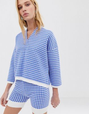 Image 1 of ASOS WHITE check knitted sweater two-piece