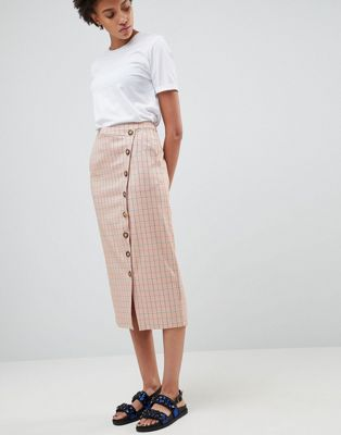 ASOS WHITE Check Skirt