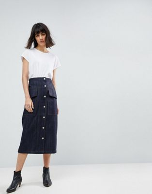 ASOS WHITE Co-ord Utility Denim Midi Skirt