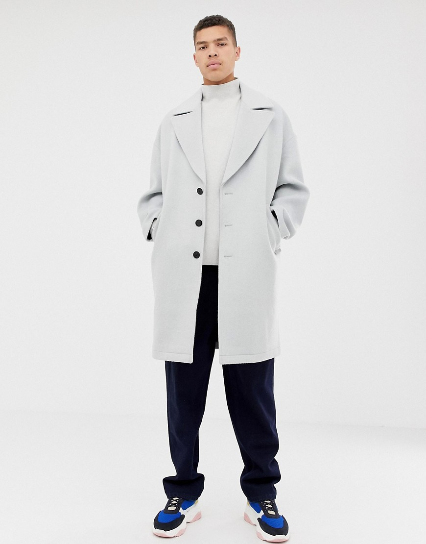 Asos White Cocoon Coat In Ice Gray Wool Mix by Asos White