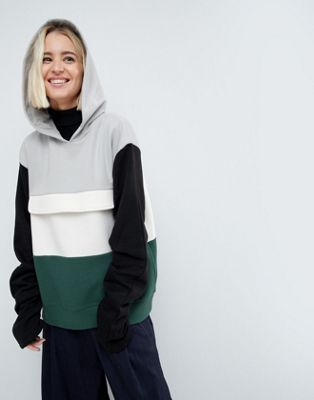 ASOS WHITE Colourblock Sweat Top With Ruched Sleeves