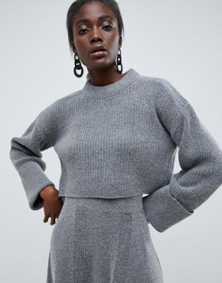 ASOS WHITE cropped jumper co-ord