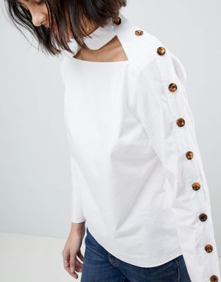ASOS WHITE Cut Out Top with Button Detail