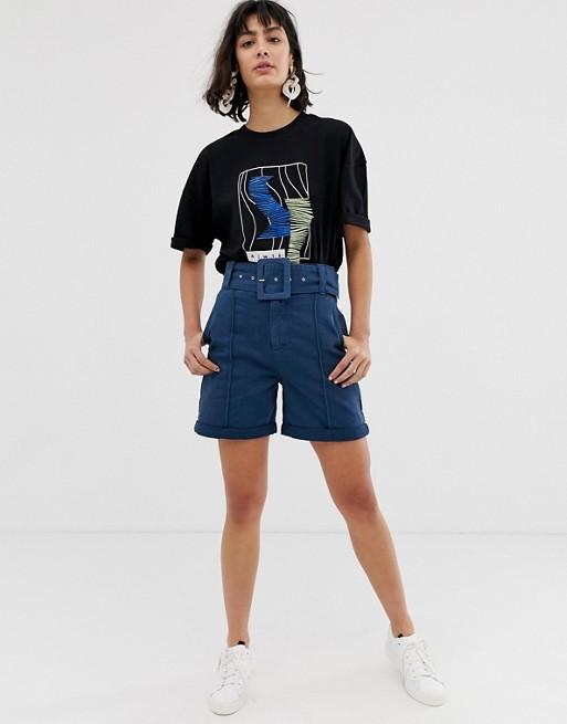 Image 1 of ASOS WHITE denim belted shorts