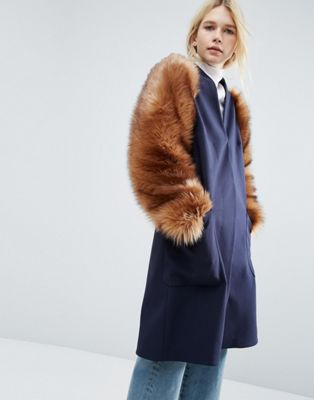 Image 1 of ASOS WHITE Faux Fur Sleeve Jacket