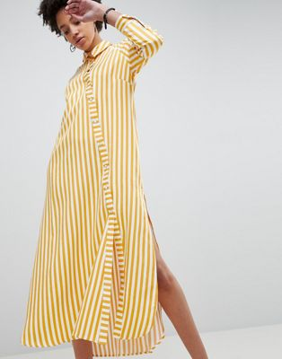 ASOS WHITE - Gonna lunga oversize a righe