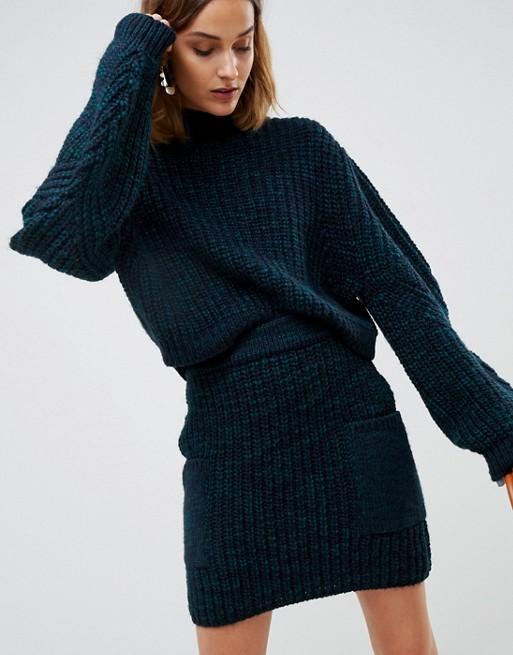 ASOS WHITE knitted co-ord skirt