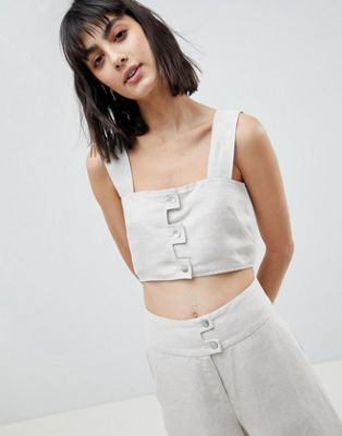 ASOS WHITE Linen Co-ord Crop Top