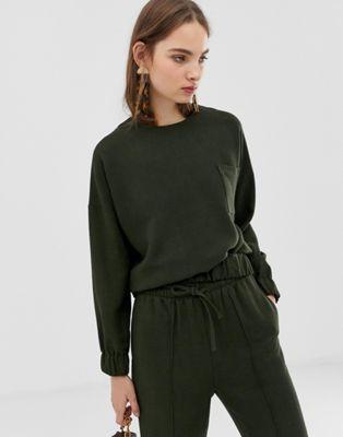 Image 1 of ASOS WHITE melange co-ord woven sweatshirt