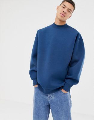 Bild 1 von ASOS WHITE – Neopren-Sweatshirt mit Ballonärmeln und doppeltem Halsausschnitt in Mitternachtsblau