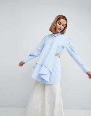 ASOS WHITE - Overhemd met uitsnijding