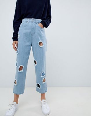 ASOS WHITE Ovoid Circle Cut Out Jean In Midwash Blue