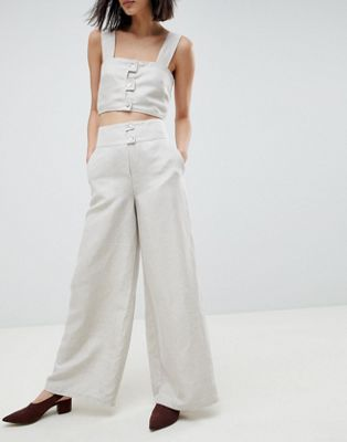 ASOS WHITE - Pantaloni in tencel e lino in coordinato