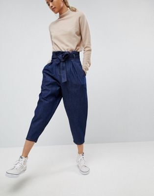 ASOS WHITE Paper Bag Indigo Denim Jean