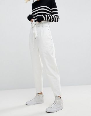 ASOS WHITE Paper Bag Jean in White