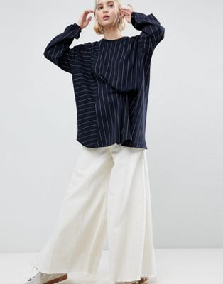 ASOS WHITE Pinstriped Sweat With Tuck Detail