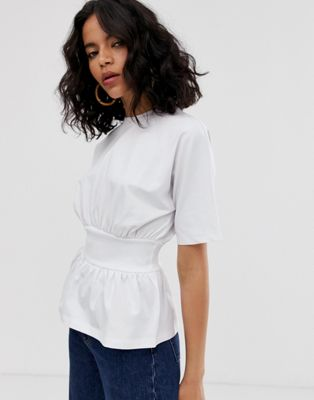 ASOS WHITE rib waist panel t-shirt