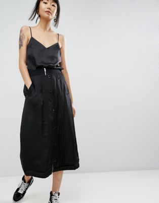 ASOS WHITE Satin Padded Military Midi Skirt