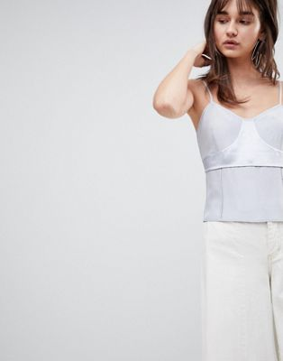 ASOS WHITE Silk Cami Top with Raw Edge Detail