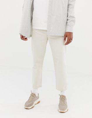 Image 1 of ASOS WHITE skater cropped jeans in ecru denim