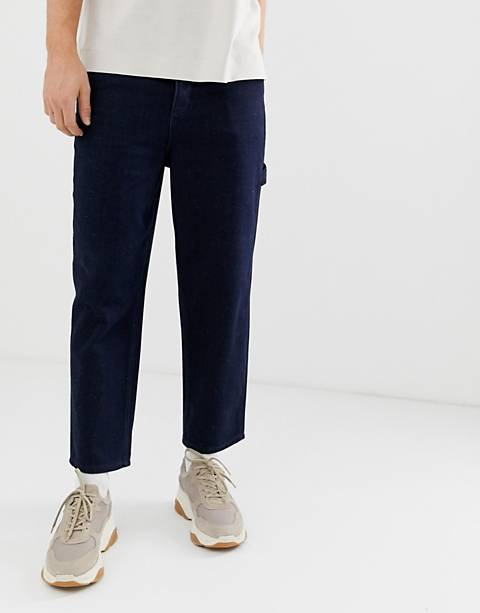 ASOS WHITE skater jeans in neppy indigo denim
