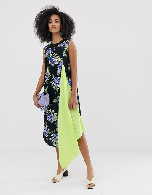 ASOS WHITE sleeveless dress with lime pleat front