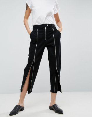 ASOS WHITE – Svarta jeans med blixtlåsdetaljer