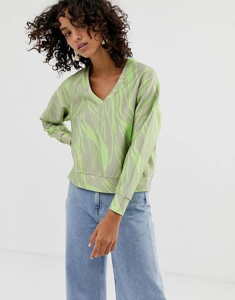 ASOS WHITE - Sweat-shirt col V à imprimé fluo