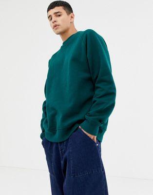 ASOS WHITE - Sweat-shirt oversize en jersey épais - Vert foncé