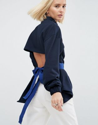 ASOS WHITE Sweat Top With Tie Waist
