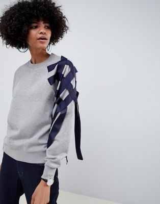 Image 1 of ASOS WHITE sweatshirt with ribbon detail