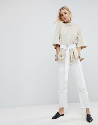 ASOS WHITE T-Shirt With Tie Waist