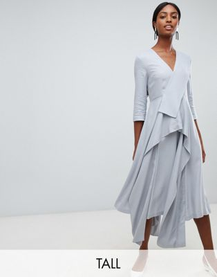 ASOS WHITE Tall drape panel midi dress