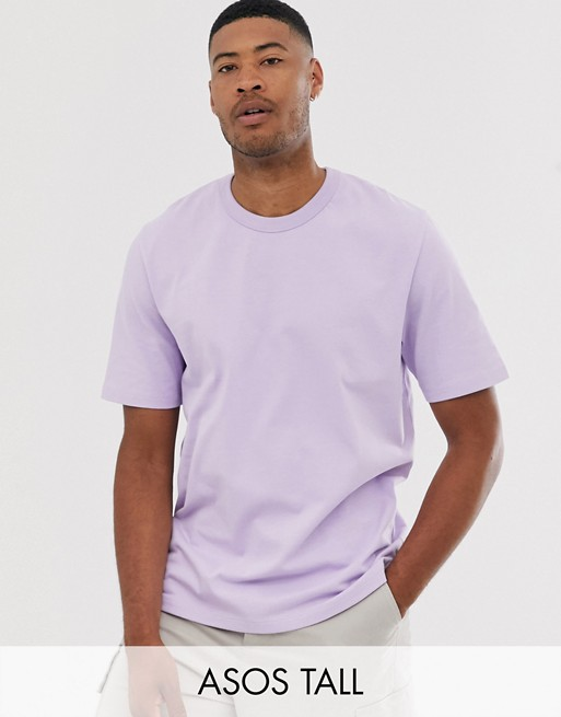 ASOS WHITE Tall loose fit heavyweight t-shirt in pastel lilac