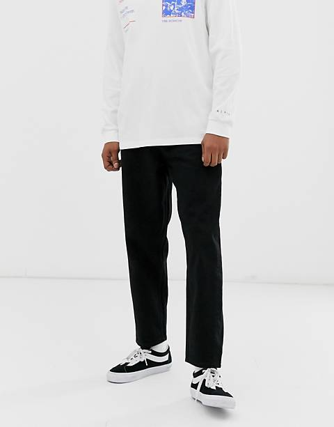 ASOS WHITE tapered jeans in 14 oz black denim
