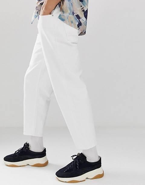 ASOS WHITE tapered jeans in 14oz white denim