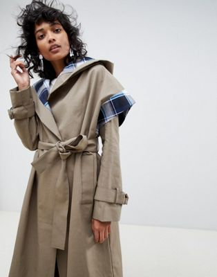 ASOS WHITE trench coat with check lining