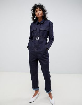 ASOS WHITE utility jumpsuit in indigo denim