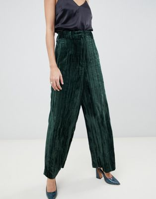 ASOS WHITE wide leg velvet trousers