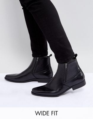 ASOS Wide Fit Chelsea Boots In Black Faux Leather With Zips