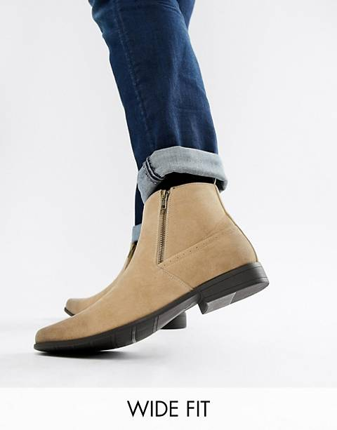 ASOS Wide Fit chelsea boots in stone faux suede with zips