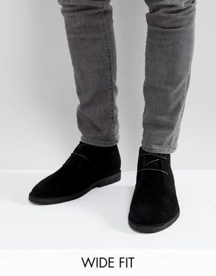 ASOS Wide Fit Desert Boots In Black Faux Suede