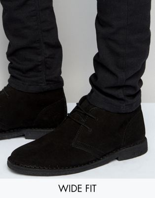 ASOS Wide Fit Desert Boots in Black Suede