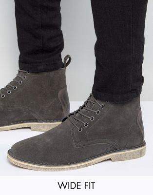 ASOS Wide Fit Desert Boots In Grey Suede With Leather Detail