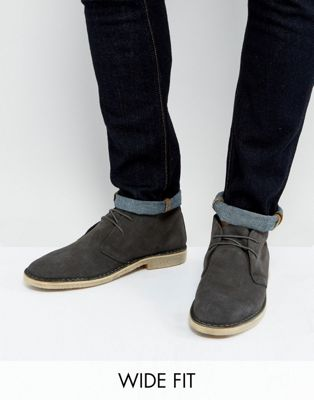 ASOS Wide Fit Desert Boots in Grey Suede